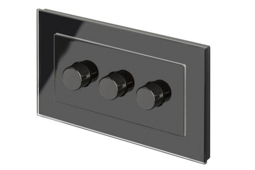 RetroTouch 3 Gang 2 Way Dimmer Switch 3-200W LED & Halogen Black Glass PG 02083